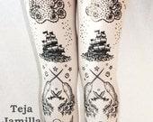 S / M Pirate Printed Tattoo Tights Narwhal Black on White Small Medium Womens Nautical Sailor Lolita