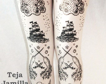 Pirate Printed Tattoo Tights Narwhal Small Medium Black on White Womens Nautical Sailor Lolita