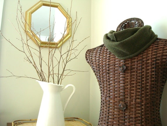 RESERVED for Sue Cashmere Infinity Scarf OLIVE GREEN Cashmere Cowl Upcycled Eco St Patricks Day WormeWoole