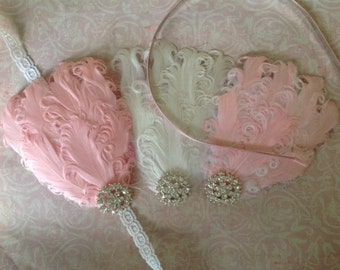 Pink, White, or Pink/White Feather Headband