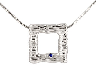 Silver Wave Pendant Necklace - Silver Water Wave Necklace - Sterling Silver Necklace