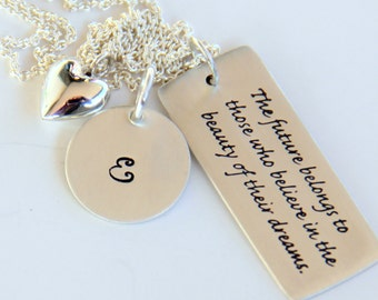 Personalized Grad Necklace, Custom, Name Pendant, Initial Necklaces, Retirement, Motivation Necklace, Grad for Her 2013