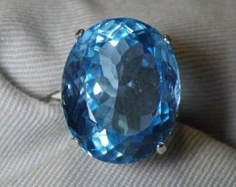Huge 32.26 Carat Blue Topaz Solitaire Ring Appraised at 800.00