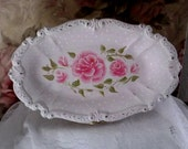 Elegantly Scrolled Silverplate Jewelry/VanityTray - Upcycled/Altered - Hand Painted - Shabby Chic Roses