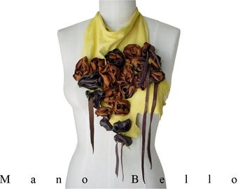 Artisan leather bib, Leather Flowers Scarf, Statement necklace, Statement scarf, Soft leather scarf, Yellow Suede, Leather Flowers, Floral