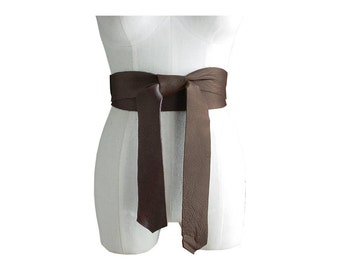 2 Inch Leather Obi Belt Double Wrap Black or Chocolate Brown Large Bow Belt 2 in 1