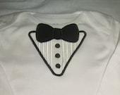 Baby boy bodysuit tuxedo look. Any color bowtie.