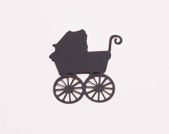 Old Fashion Baby Buggy-- Die Cut for Scrapbooking or Cardmaking - Set of 6