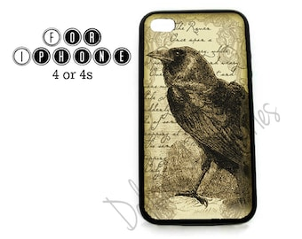 Case for Apple iPhone 4 / 4s / 5 / 6 / 6 Plus / 7 THE RAVEN Edgar Allan Poe -  Rubber Silicone
