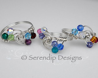 Grandmothers Ring Mothers Ring Argentium Sterling Silver and Six Swarovski Birthstone Crystals, 6 Birthstone Ring mr6-4