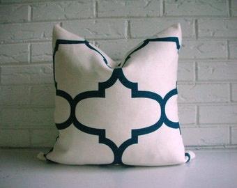 Decorative Pillow Cover - Designer Cushion - Kravet Riad Indigo - Deep Teal White - Moroccan Decor - Trellis Fret Modern - Hollywood Regency