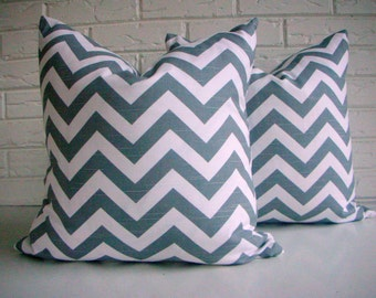 CLEARANCE Gray Chevron Pillow Cover - Zig Zag Print Throw - Modern