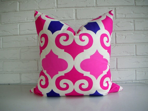 Pink Moroccan Throw Pillow Decorative Pillow Cover Fuchsia