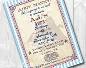 Nautical Invitations, Printable Custom Invitations by Cutie Putti Paperie