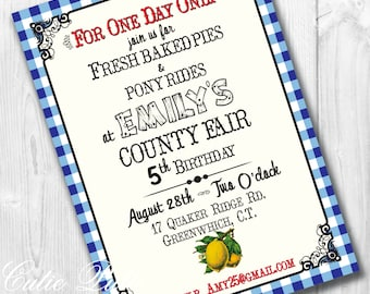 County Fair Party Invitations, Printable Custom Invitations by Cutie Putti Paperie