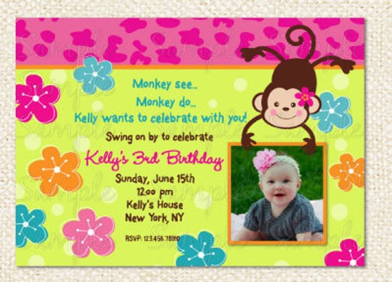 Monkey love party invitations - photo#21