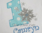 Personalized Onederland Birthday T Shirt Or Bib Girls Boys Snowflakes Wonderland First Birthday Any Number Applique
