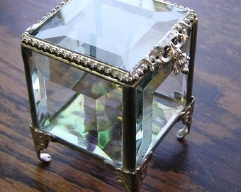 2 x 2, Glass Box, Silver, Stained Glass Jewelry Box, Keepsake Box, Ring Bearer Pillow Alternative, Mother's Day Gift, Glass Box, Wedding