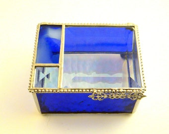 "Cobalt Blue Stained Glass Jewelry Box, 3 x 4 x 2"",  Graduation Gift"