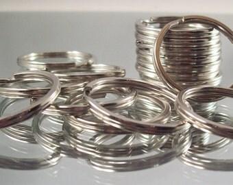 Flat Split Key Ring 30mm Nickel Finished Steel For Key Chains - 100 pcs