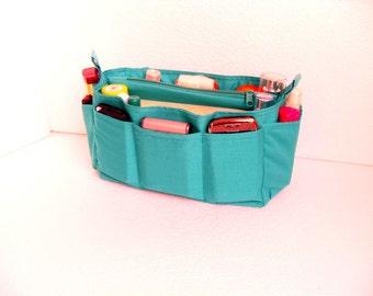 Purse organizer insert / Bag organizer /Handbag organizer in Teal  fabric