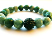 Emerald Green Stone Stretch Bracelet with Crystal Spacer Fire Agate Crystals A285