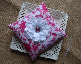 Wedding Ring Bearer Pillow - White Zinnia on Fuscia & White
