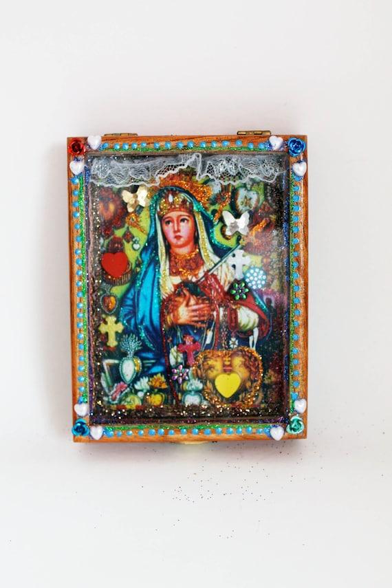 Mexican Shrine Wooden Box Nicho The Virgin Mary Shrine Or