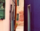 Pink and Purple Houses in Burano Italy, colorful, Photograph, 8x10 - shyphotog