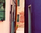 Pink and Purple Houses in Burano Italy, colorful, Photograph, 8x10
