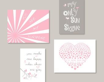 Pink Gray Wall artYou Are My Sunshine Print Set 11x14 and 8x10 Gallery wall Art  YassisPlace