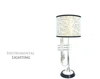 Silver Trumpet Lamp & Sheet Music Lamp Shade