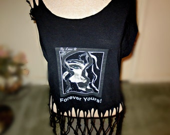 Cut up black cropped large T shirt - Hand cut  woven fringe - original charcoal print - shoulder slits - blue eyed sexy lady - sultry lips