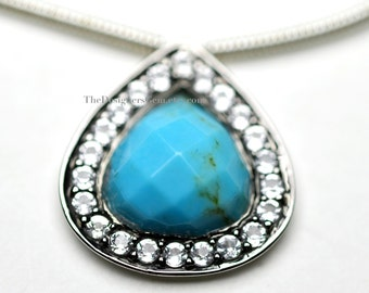 Stunning and Elegant Blue Turquoise Heart Pendant Inlaid with Pure White Topaz