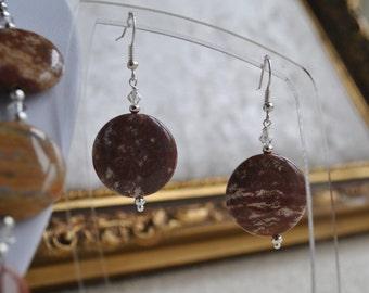 Jasper & clear Swarovski crystal dangle drop earrings