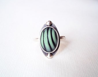 Modern Jewelry. Mint Green and Black Striped Glass Sterling Silver Ring.Unique Jewelry