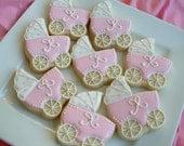 Baby Shower Cookies - baby stroller cookies - 2 dozen Baby carriage favors - Personalized cookies - baby girl cookies - baby boy cookies