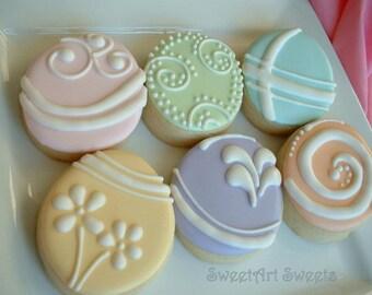 Easter cookies - Easter egg cookies - pastel egg cookies - spring cookies - 1 dozen or 1/2 dozen option