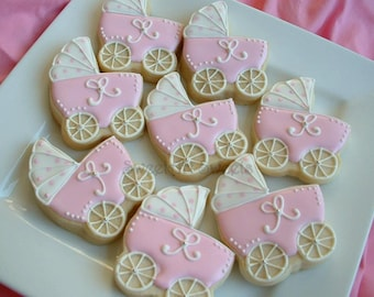 Baby Shower Cookies - baby stroller cookies - 2 dozen Baby carriage favors - Personalized cookies - baby girl cookies - baby boy cookies