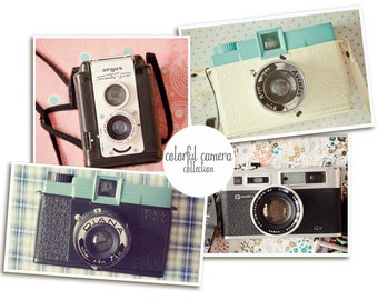 Camera Print ,Retro Camera Art, Vintage Camera Wall Art, Set of Four Prints, Camera Print, Camera Wall Art, Diana Camera Print, Camera Decor