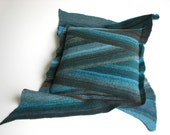 Diagonal Striped Cushion Cover - Natural Woolen Felted Throw Pillow Case 18x18 - Home Decor - Turquoise Teal Palette