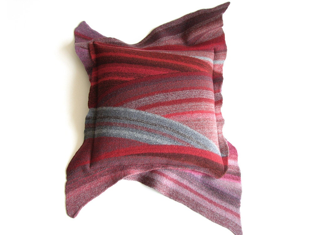 Wool Felted Throw Pillow Case 18x18 Diagonal Striped Cushion