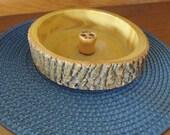 Vintage Wooden Log Bark Nut Bowl
