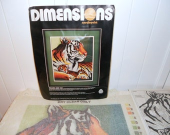 Tigress and Cub Dimensions Needlepoint 1984 Vintage Needlework Embroidery