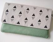 Handmade Clutch · Envelope Purse · Cotton Clutch · Triangles · Geometric Print · Small Handbag