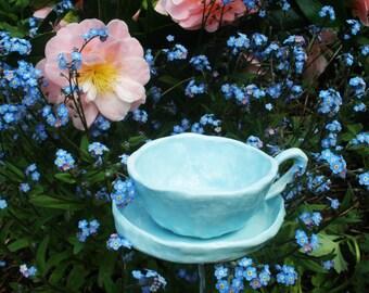 Tea Cup Bird feeder Ceramic Garden Art housewarming gift