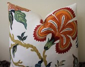 "SALE - Celerie Kemble for Schumacher ""Hot House Flowers"" in Spark Colorway - 18""x 18""  Designer Pillow Cover"