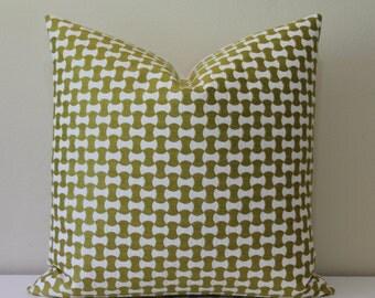 LUMBAR Sizes Only - Schumacher Nolita Embroidery in Citron/Chartreuse - Decorative Designer Lumbar Pillow Cover
