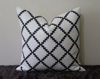 """Lulu DK Chant Reverse Print in Charcoal/Black - 18"""" x 18"""", 20"""" x 20"""" or 22"""" x 22""""  Decorative Designer Pillow Cover"""