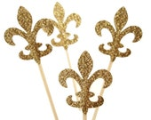 24 Glittered Gold Fleur De Lis Party Picks, Toothpicks, Cupcake Toppers, Food Picks - No256